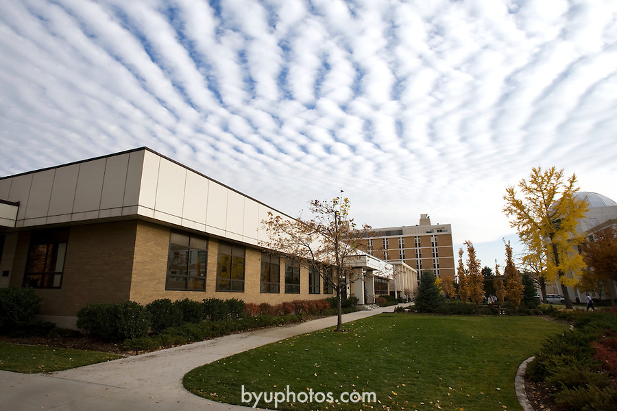 0711-45 Clouds on campus (GCS)..Couple Statue..November 29, 2007..Photo by: Mark A. Philbrick/BYU..Copyright 2006..All Rights Reserved..BYU PHOTO.(801) 422-7322, photo@byu.edu