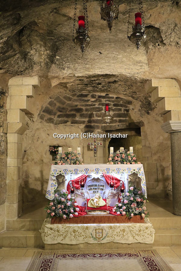 Israel, Nazareth, the Grotto of the Annunciation at the Church of the Annunciation on Christmas Day