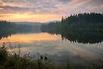 Idaho, North Central, Elk River. Early Autumn sunset over Elk Creek Reservoir.