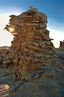 746000019 strange sandstone formations stand watch over the landscape in fantasy canyon a blm property in the middle of a working oil field in northeastern utah united states
