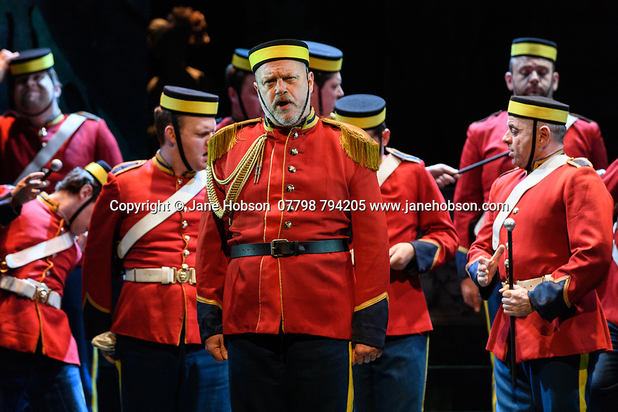 English Touring Opera presents PATIENCE, by Gilbert & Sullivan, at the Hackney Empire, prior to its UK tour. Picture shows: Andrew Slater (Colonel Caverley).