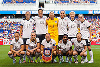 United States (USA) starting XI. The women's national team of the United States defeated the Korea Republic 5-0 during an international friendly at Red Bull Arena in Harrison, NJ, on June 20, 2013.