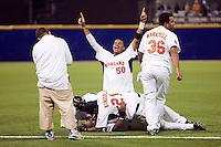 10 March 2009: #50 Kenley Jansen of the Netherlands celebrates after beating the Dominican Republic during the 2009 World Baseball Classic Pool D game 5 at Hiram Bithorn Stadium in San Juan, Puerto Rico. The Netherlands pulled off second upset to advance to the secound round. The Netherlands come from behind in the bottom of the 11th inning and beat the Dominican Republic, 2-1.