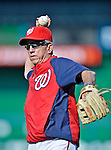 17 May 2012: Washington Nationals Manager Davey Johnson tosses on the sidelines prior to a game against the Pittsburgh Pirates at Nationals Park in Washington, DC. The Pirates defeated the Nationals 5-3 in the second game of their 2-game series. Mandatory Credit: Ed Wolfstein Photo