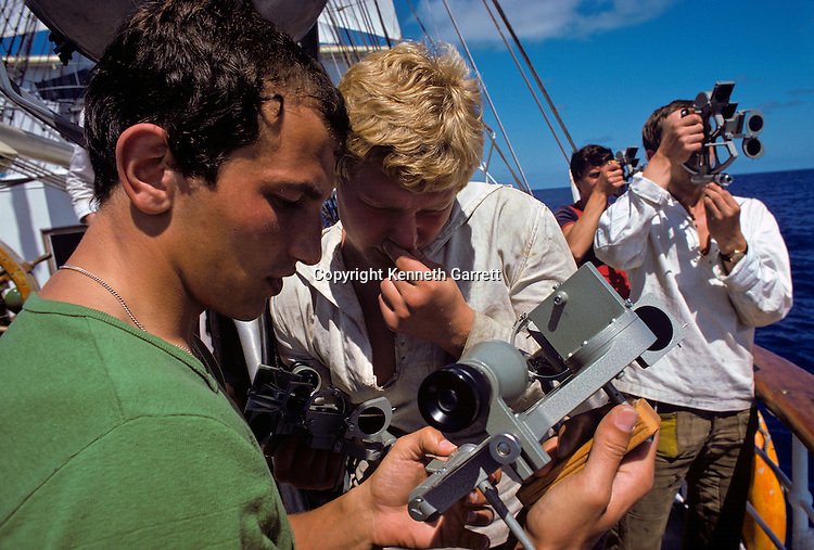 Sailor navigates with traditional sextant, Square Rigger; Sail race, Operation Sail Tall Ships; Sail Training Association; US Bicentennial; Atlantic Ocean; adventure; STA, 1976, Seamanship, cadet training