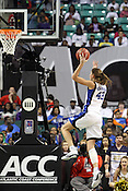 Duke forward Allison Vernerey drives the ball up to the net for 2 of her 7 total points against Georgia Tech. This game was one of the two Semifinal games of the 2011 ACC Tournament in Greensboro on Saturday, March 5, 2011. Duke beat Georgia Tech 74-66. (Photo by Al Drago)