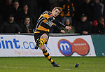 Jason Tovey kicks the conversion just wide.  Newport V Llanelli, Principality Premiership. © Ian Cook IJC Photography iancook@ijcphotography.co.uk www.ijcphotography.co.uk