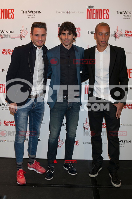 Atletico de Madrid&acute;s Joao Miranda, Thiago and Saul attend Jorge Mendes&acute;s book presentation in Madrid, Spain. January 22, 2015. (ALTERPHOTOS/Victor Blanco) /NortePhoto<br />