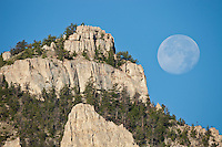 Moon setting over Sheep Mountain in the Shoshone National Forest Wyoming