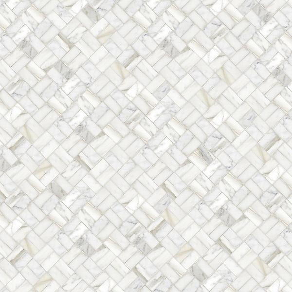 Double Brick, a hand-cut stone mosaic, shown in polished Calacatta Tia.