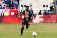 Michael Lahoud (13) of the Philadelphia Union. The New York Red Bulls defeated the Philadelphia Union 2-1 during a Major League Soccer (MLS) match at Red Bull Arena in Harrison, NJ, on March 30, 2013.