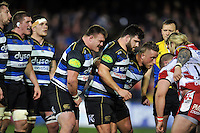 The Bath Rugby forwards pack down for a scrum. Aviva Premiership match, between Bath Rugby and Gloucester Rugby on February 5, 2016 at the Recreation Ground in Bath, England. Photo by: Patrick Khachfe / Onside Images
