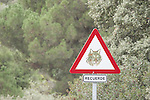 Traffic warning sign for the conservation of Spanish lynx (Lynx pardina), Sierra de Andujar Natural Park, Sierra Morena, Andalucia, Spain