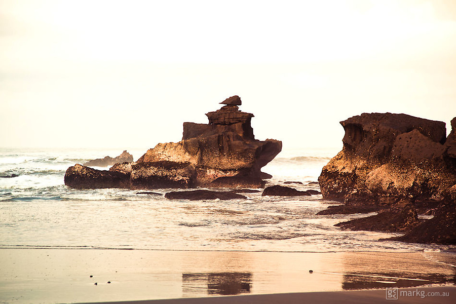 Unique rock formations at the northern end of Balian Beach.