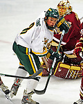 10 January 2009: University of Vermont Catamount forward and Team Captain Dean Strong, a Senior from Mississauga, Ontario, in action against the Boston College Eagles in the second game of a weekend series at Gutterson Fieldhouse in Burlington, Vermont. With his last assist of the game, Strong became the 41st Catamount to reach 100 career points at UVM. The Catamounts rallied from an early 2-0 deficit to defeat the visiting Eagles 4-2. Mandatory Photo Credit: Ed Wolfstein Photo