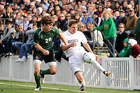Max Hamilton (7) of the Monmouth Hawks plays the all under pressure of Brendan Lane (20) of the Dartmouth Big Green. Dartmouth defeated Monmouth 4-0 during the first round of the 2010 NCAA Division 1 Men's Soccer Championship on the Great Lawn of Monmouth University in West Long Branch, NJ, on November 18, 2010.
