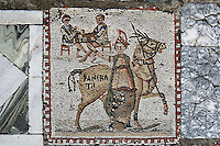 Detail of a mosaic of a horse and rider with two men at a table in the Villa of the Aviary, Carthage, Tunisia, pictured on January 30, 2008, in the morning. Carthage was founded in 814 BC by the Phoenicians who fought three Punic Wars against the Romans over this immensely important Mediterranean harbour. The Romans finally conquered the city in 146 BC. Subsequently it was conquered by the Vandals and the Byzantine Empire. Today the site is a UNESCO World Heritage. The Roman Villa of the Aviary, with its octagonal garden set in a peristyle courtyard, is known for its fine mosaics depicting birds. Picture by Manuel Cohen.