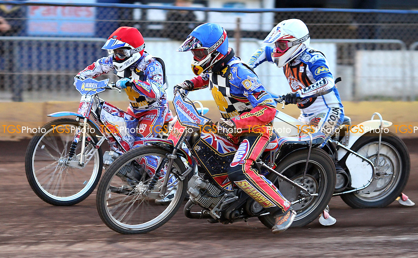 Heat 9: Shane Hazelden (blue), David Mason (red) and Jack Hargreaves (white) - Hackney Hawks vs Mildenhall Fen Tigers, National League Speedway at Hoddesdon, Rye House - 30/04/11 - MANDATORY CREDIT: Rob Newell/TGSPHOTO - Self billing applies where appropriate - 0845 094 6026 - contact@tgsphoto.co.uk - NO UNPAID USE.