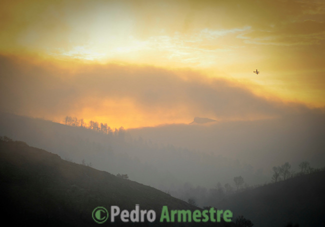 General view of the fire in Torre de Macanes near Alicante, on August 13, 2012. Emergency teams battled through the night to quell the flames in the pine forests around Torre de les Macanes north of Alicante, which claimed their first victim, a member of the firefighting team, on Sunday. (c) Pedro ARMESTRE