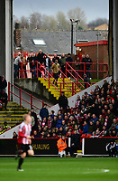 Sheffield United fans watch the game from the corner of Bramall Lane stadium<br /> <br /> Photographer Chris Vaughan/CameraSport<br /> <br /> The EFL Sky Bet League One - Sheffield United v Charlton Athletic - Saturday 18th March 2017 - Bramall Lane - Sheffield<br /> <br /> World Copyright &copy; 2017 CameraSport. All rights reserved. 43 Linden Ave. Countesthorpe. Leicester. England. LE8 5PG - Tel: +44 (0) 116 277 4147 - admin@camerasport.com - www.camerasport.com