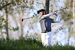 KANNAPOLIS, NC - APRIL 09: Charlotte's Tyler Young tees off on the 10th hole. The third round of the Irish Creek Intercollegiate Men's Golf Tournament was held on April 9, 2017, at the The Club at Irish Creek in Kannapolis, NC.