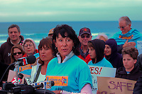Marcella Teran speaks is flanked by supporters during a rally in support of the proposed alcohol ban at Mission Beach on Friday January 4 2007.