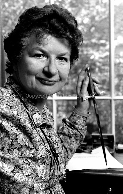 Phyllis Dorothy James, English crime novelist at home in London in 1987.