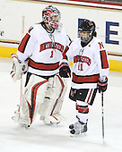 Leah Sulyma (NU - 1), Rachel Llanes (NU - 11) - The Harvard University Crimson defeated the Northeastern University Huskies 4-3 (SO) in the opening round of the Beanpot on Tuesday, February 8, 2011, at Conte Forum in Chestnut Hill, Massachusetts.