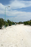New light standards line the main sandy street in the small town of Costa Maya, Mexico on the Caribbean coast south of Cancun.