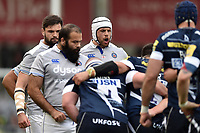 Dave Attwood of Bath Rugby rallies his fellow forwards at a scrum. Aviva Premiership match, between Sale Sharks and Bath Rugby on May 6, 2017 at the AJ Bell Stadium in Manchester, England. Photo by: Patrick Khachfe / Onside Images