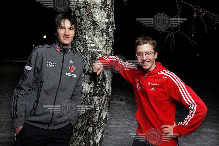 German ski jumpers Martin Schmidt and Simon Ammann during and after competition at Lillehammer, Norway..©Fredrik Naumann/Felix Features..(journlist Mathias Schneider/Stern)
