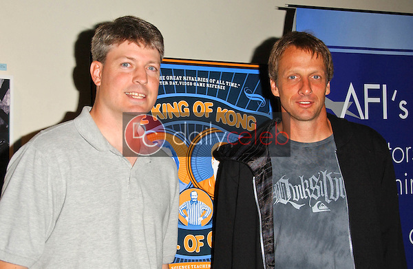Steve Wiebe and Tony Hawk<br />at the Los Angeles Premiere of The King of Kong a Fistful of Quarters. Arclight Theaters, Hollywood, CA. 08-16-07<br />Dave Edwards/DailyCeleb.com 818-249-4998