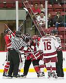 Phil Hampton (RPI - 6), Mark Miller (RPI - 26), Jimmy Vesey (Harvard - 19), Ryan Donato (Harvard - 16) - The Harvard University Crimson defeated the visiting Rensselaer Polytechnic Institute Engineers 5-2 in game 1 of their ECAC quarterfinal series on Friday, March 11, 2016, at Bright-Landry Hockey Center in Boston, Massachusetts.