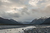 Waimakariri River with sunset over Southern Alps in Arthur's Pass, Arthur's Pass National Park, Canterbury, South Island, New Zealand, NZ
