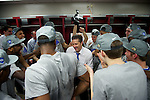 02 APR 2012:  Head coach John Calipari of the University of Kentucky celebrates in the locker room with his team during the 2012 NCAA Men's Division I Basketball Championship Final Four held at the Mercedes-Benz Superdome hosted by Tulane University in New Orleans, LA.  The University of Kentucky beat the University of Kansas 67-59. Joshua Duplechian/ NCAA Photos