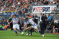 VOETBAL: HEERENVEEN: Abe Lenstra Stadion, 02-09-2012, Eredivisie 2012-2013, SC Heerenveen - Ajax, Eindstand 2-2, Filip Djuricic (#9 | SCH), Derk Boerrigter (#21 | Ajax), Gianni Zuiverloon (#2 | SCH), ©foto Martin de Jong