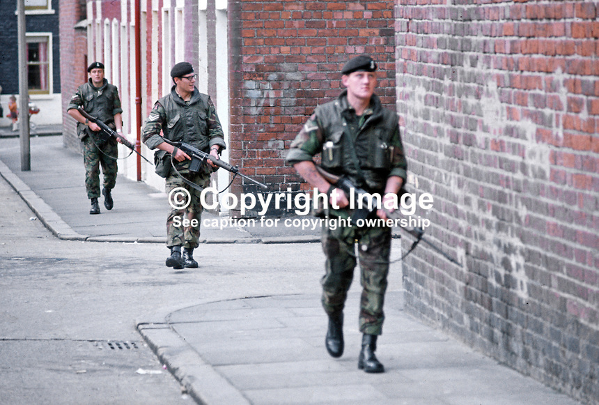 British soldiers on foot patrol in Belfast, N Ireland, September, 1971, 197109000431p.<br /> <br /> Copyright Image from Victor Patterson,<br /> 54 Dorchester Park, Belfast, UK, BT9 6RJ<br /> <br /> t1: +44 28 90661296<br /> t2: +44 28 90022446<br /> m: +44 7802 353836<br /> <br /> e1: victorpatterson@me.com<br /> e2: victorpatterson@gmail.com<br /> <br /> For my Terms and Conditions of Use go to<br /> www.victorpatterson.com