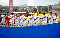 Honduras stands for their national anthem before the group stage of the CONCACAF Men's Under 17 Championship at Catherine Hall Stadium in Montego Bay, Jamaica. Honduras defeated Barbados, 2-1.