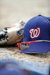 12 March 2008: Washington Nationals gear lies on the edge of the dugout during a Spring Training game against the Los Angeles Dodgers at Holman Stadium, in Vero Beach, Florida. The Nationals defeated the Dodgers 10-4 at the historic Dodgertown ballpark. 2008 marks the final season of Spring Training at Dodgertown for the Dodgers, as the team will move to new training facilities in Arizona starting in 2009 after 60 years in Florida...Mandatory Photo Credit: Ed Wolfstein Photo