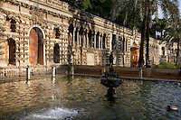 Low angle view of Jardin de la Alcubilla (Garden of the Reservoir), Real Alcazar, Seville, Spain, pictured on December 26, 2006, in the afternoon. The Real Alacazar was commissioned by Pedro I of Castile in 1364 to be built in the Mudejar style by Moorish craftsmen. The palace, built on the site of an earlier Moorish palace, is a stunning example of the style and a UNESCO World Heritage site. The gardens are a mixture of Moorish, French and Renaissance styles. This, the Garden of the Reservoir, dates from the time of Charles V (1500-58). Picture by Manuel Cohen.