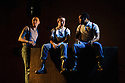 London, UK. 01.12.2015. BARBARIANS, by Barrie Keeffe, opens in the Clare, at the Young Vic Theatre. Directed by Liz Stevenson, the winner of the JMK Award 2015. Picture shows: Alex Austin (Jan), Brian Vernel (Paul), Fisayo Akinade (Louis). Photograph © Jane Hobson.