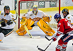 20 February 2009: University of Vermont Catamount goaltender Rob Madore, a Freshman from Venetia, PA, in third period action against the University of Massachusetts River Hawks during the first game of a weekend series at Gutterson Fieldhouse in Burlington, Vermont. The teams battled to a 3-3 tie. Mandatory Photo Credit: Ed Wolfstein Photo