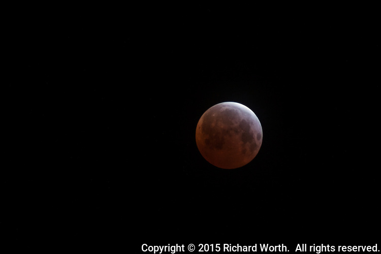 A lunar eclipse reaches maximum at 5:00AM Pacific Time on April 5, 2015.  Viewed from near San Francisco, California.