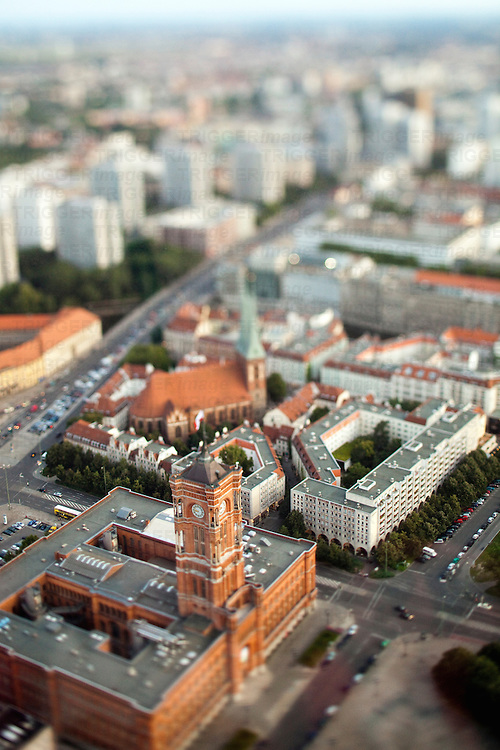 Aerial view from the TV Tower of the City Hall and Nikolaikirche (focus on the City Hall), Berlin, Germany. Tilted lens used for a shallower depth of field and to create, combined with the aerial view, a miniaturization effect.
