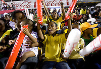 A young Jamaican fan welcomes his team onto the field during the semifinals of the CONCACAF Men's Under 17 Championship at Catherine Hall Stadium in Montego Bay, Jamaica. The United States defeated Jamaica, 2-0.