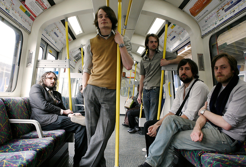 The indie band iLiKETRAiNS photographed in West London on the 22nd of April 2008 before they played at the Bush Hall, in Shepperd's Bus, London
