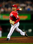 22 August 2009: Washington Nationals' pitcher Saul Rivera on the mound in relief against the Milwaukee Brewers at Nationals Park in Washington, DC. Rivera entered the game in the second inning as the Nationals looked to the bullpen to complete the game. The Nationals fell to the Brewers 11-9, in the second game of their four-game series. Mandatory Credit: Ed Wolfstein Photo