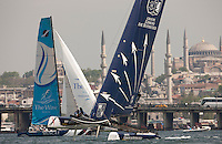 Extreme Sailing Series 2011. Act 3.Turkey . Istanbul..Groupe Edmond De Rothschild skippered by Pierre Pennec with teammates Christophe Espagnon,Thierry Fouchier and Herve Cunningham