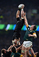 Jerome Kaino of New Zealand wins the ball at a lineout. Rugby World Cup Semi Final between South Africa and New Zealand on October 24, 2015 at Twickenham Stadium in London, England. Photo by: Patrick Khachfe / Onside Images