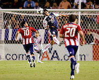 Pachuca FC defender Francisco Santillan (3) clears a ball from approaching Chivas USA forward Jesus Padilla (10). USA Chivas USA defeated Pachuca FC 1-0 during 2010 SuperLiga group play at Home Depot Center stadium in Carson, California Wednesday July 21, 2010.